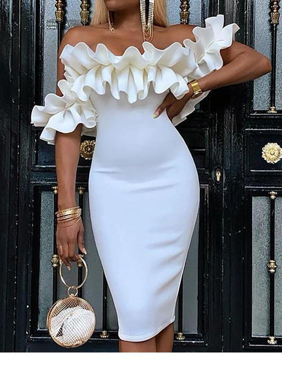 Nice white dress with ruffles