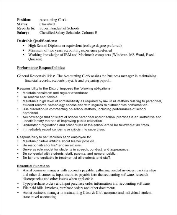 Payroll Accounting Job Description Accounting Finance Job - business manager job description