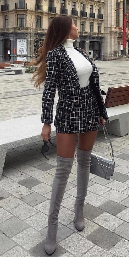 Chic plaid office suit design