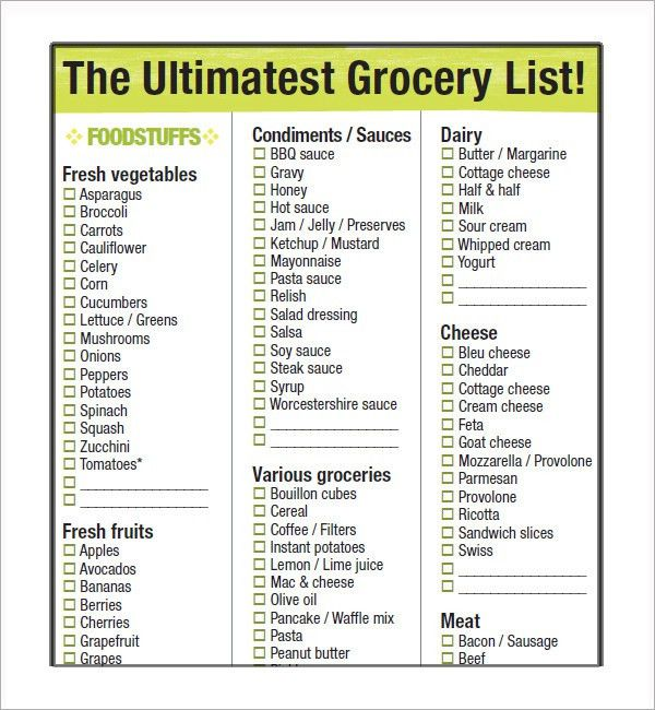 Sample Grocery Lists Sample Grocery List Template 9 Free - grocery list sample