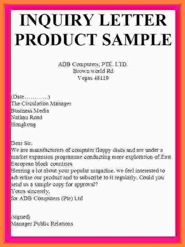 Example Of Inquiry Letter In Business Inquiry Letter Sample - inquiry letter