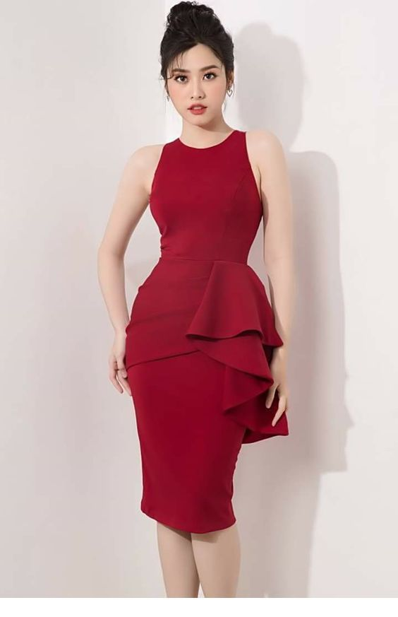 Cool red dress with ruffles