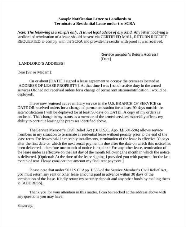 Sample Lease Termination Letter From Landlord To Tenant Sample - examples of termination letters
