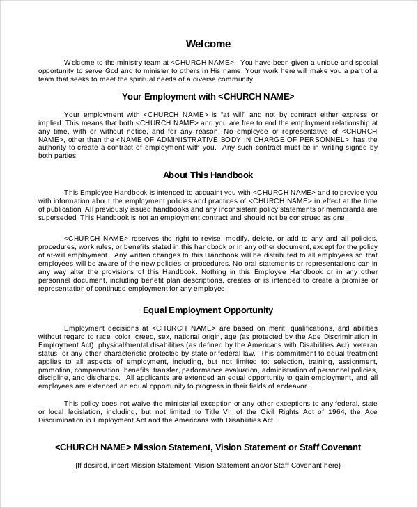 Restaurant Employee Handbook Template Employee Handbook Template - sample employee manual template