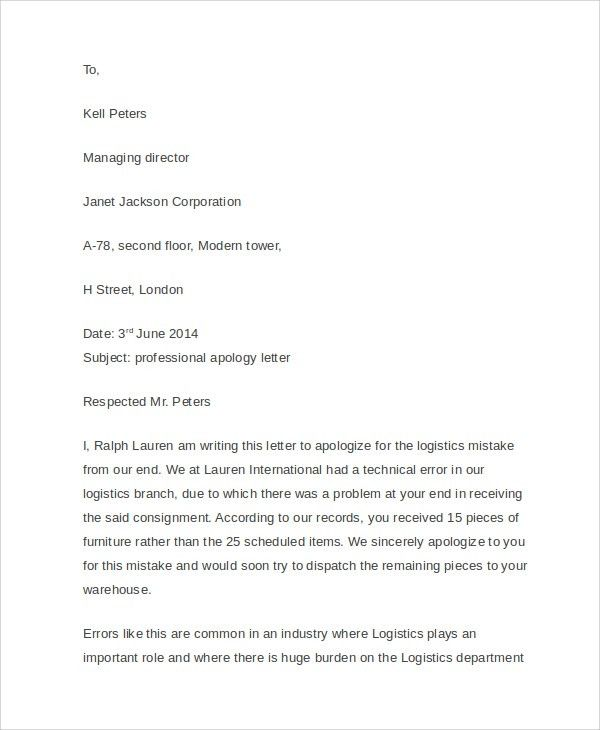 Sample Business Apology Letter formal apology letter sample - formal apology letters