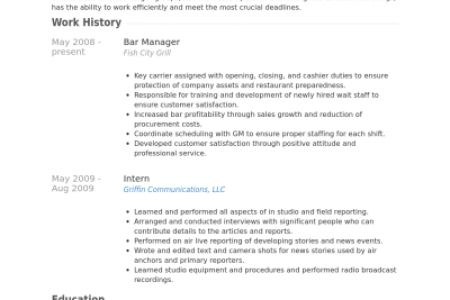 bar manager resume sample bar manager performance appraisal