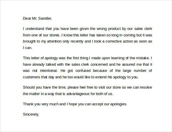 examples of apology letters to customers – Example of Apology Letter