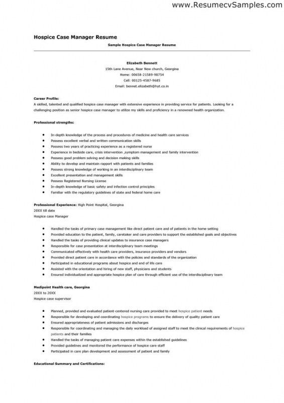 Resume For Nursing Case Manager Sample Nurse With Hospice Examples