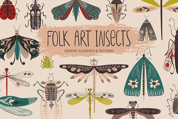Folk Art Insects. by Annykos on @creativemarket