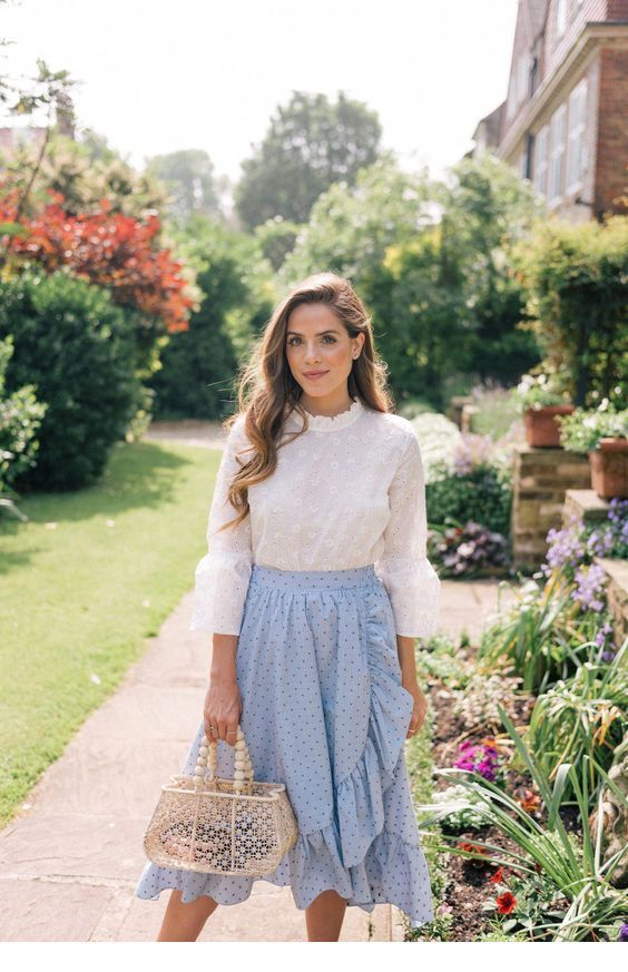 Romantic white and blue outfit inspiration