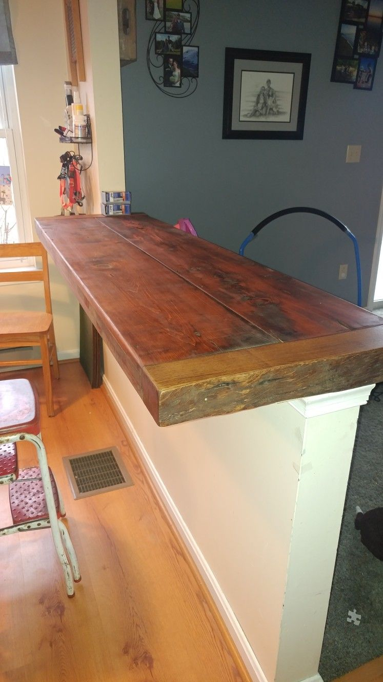 Our Half Wall Turned Into A Bar Reclaimed Wood Bar Top