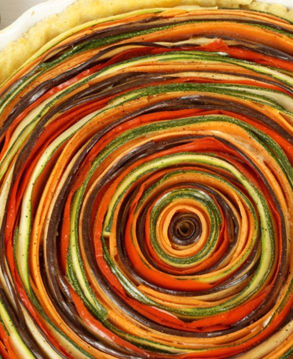 Gemüse-Tarte mit bunter Spirale von Evas Backparty