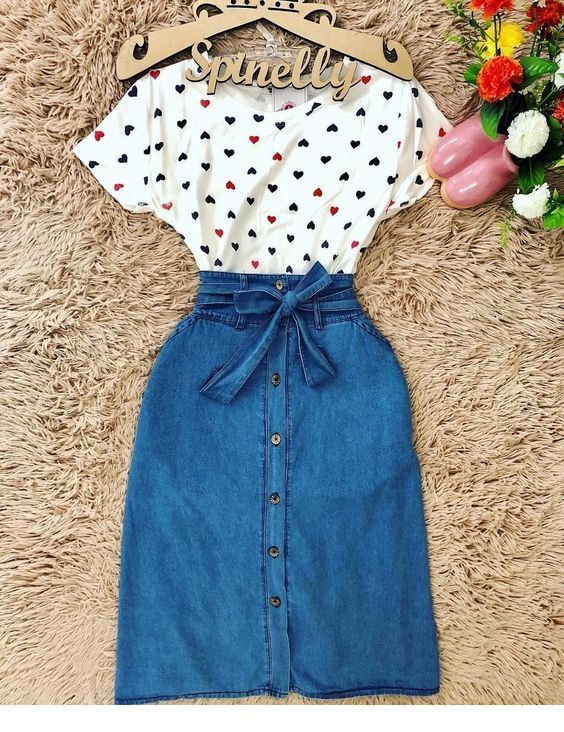 Nice heart t-shirt and denim skirt