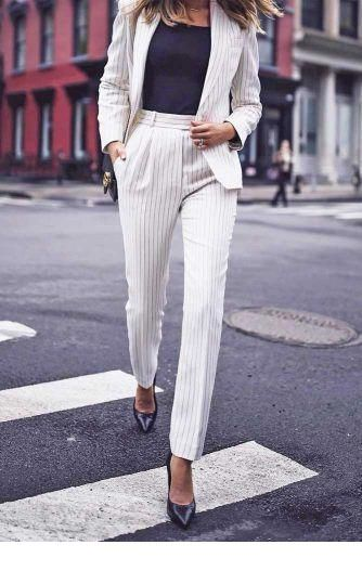 I like this white suit for office