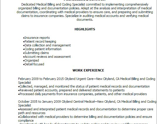 Resume For Medical Billing And Coding Professional Medical - contract specialist resume