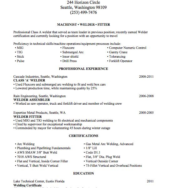 Pipefitter Resume Sample Unforgettable Pipefitter Resume Examples