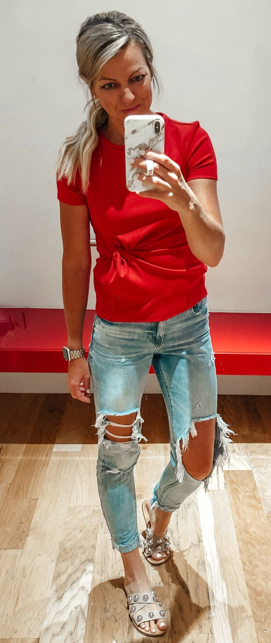 red crew-neck tee shirt #summer #outfits