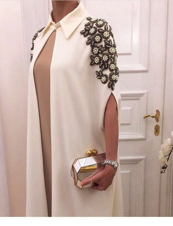 Nice white cape with glam accessories
