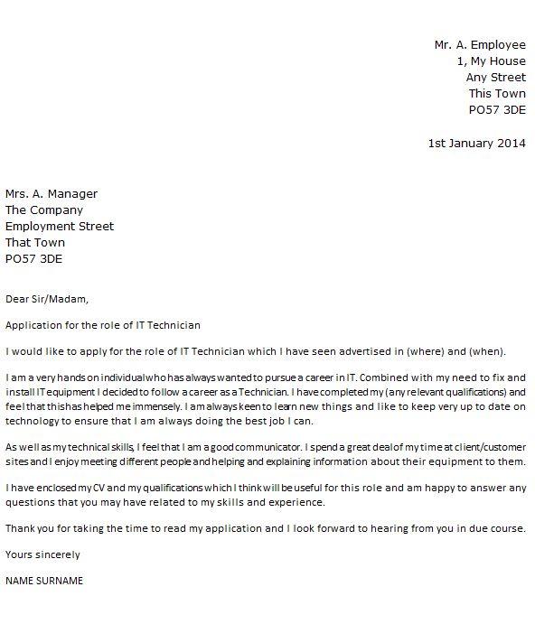 General Maintenance Technician Cover Letter Sample