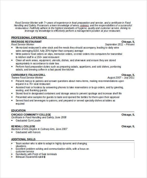 duties of a waitress resumes