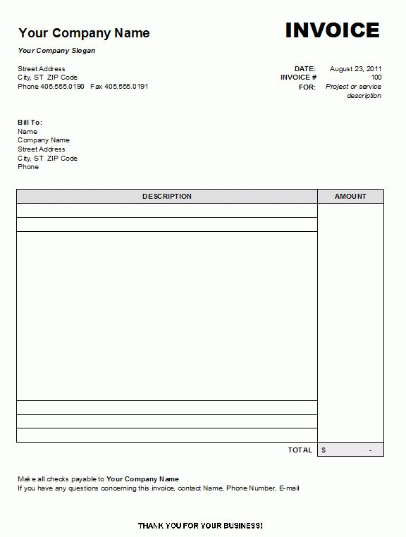 Blank Invoice Template Doc Free Blank Invoice Template For - blank invoice