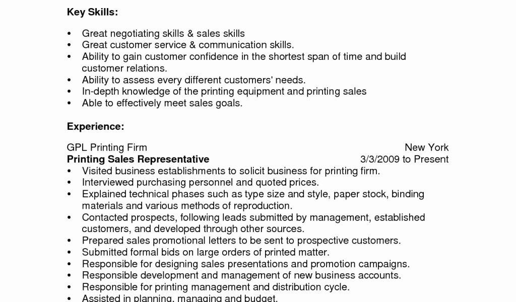 sales skills resumes