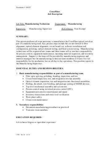 Manufacturing Technician Job Description Manufacturing Production - quality control job description