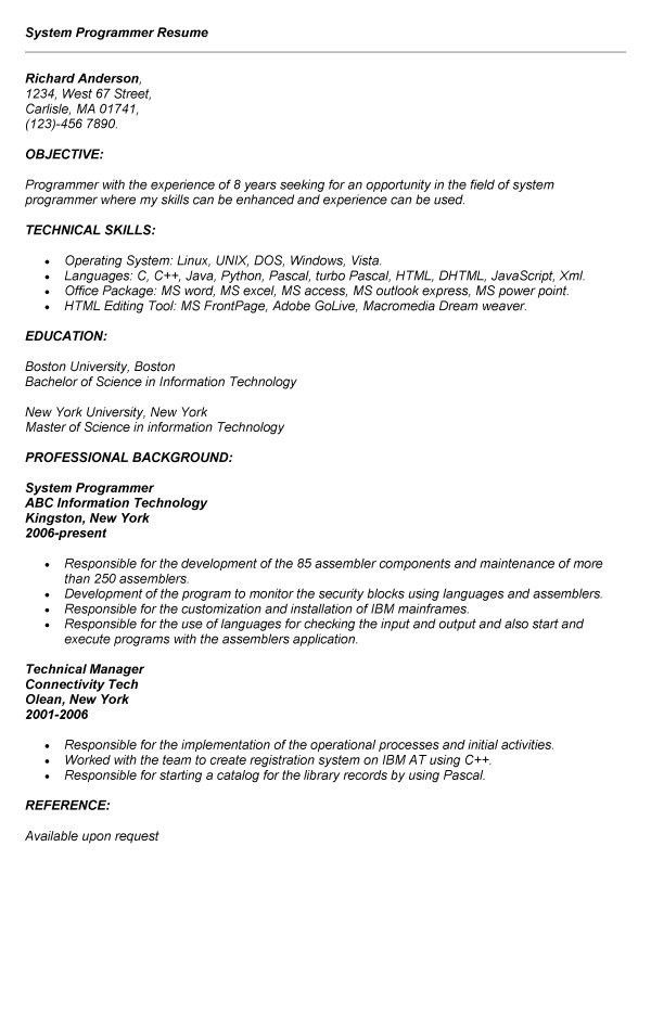 Recreation Programmer Sample Resume Psychology Resume Template