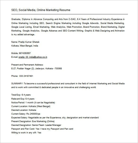 Brief Resume Format] Short 1 Page Resume Template, Brief Resume