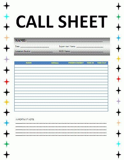 call sheet template word | node2003-cvresume.paasprovider.com
