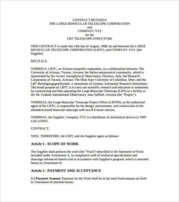 Agreement Contract Sample Between Two Parties Sample Contract - simple contract template