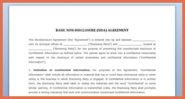 Nda Template Word 20 Word Non Disclosure Agreement Templates Free - sample employee confidentiality agreement