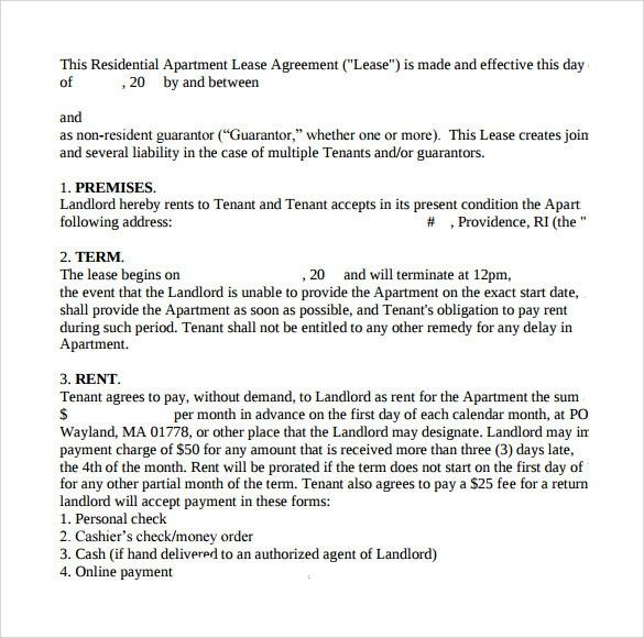 Apartment Lease Agreement Template Lease Agreement Create A Free - free sample lease agreement