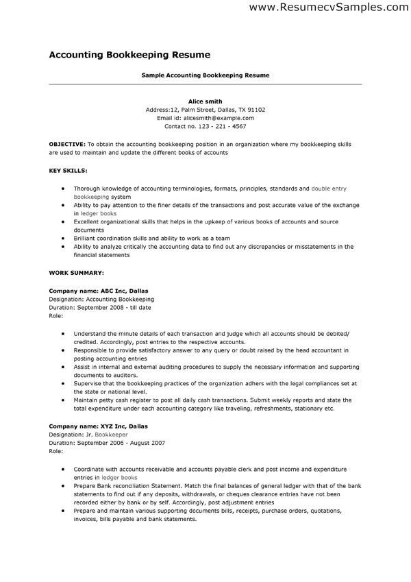 Bookkeeper Resume Objective The Best Bookkeeper Resume Sample