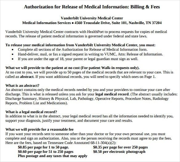 Medical Release Of Information Form Template Sample Medical - generic photo release form