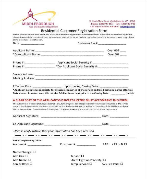 printable registration form template - 100 images - enrollment - customer registration form sample
