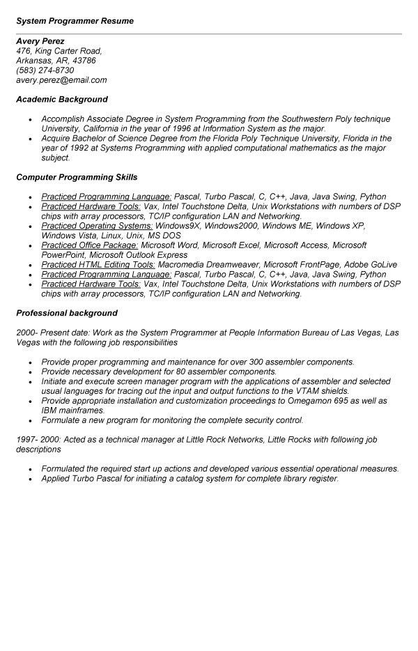 Z Os System Programmer Resume Bill Schuck Mainframe Programmer - system programmer job description