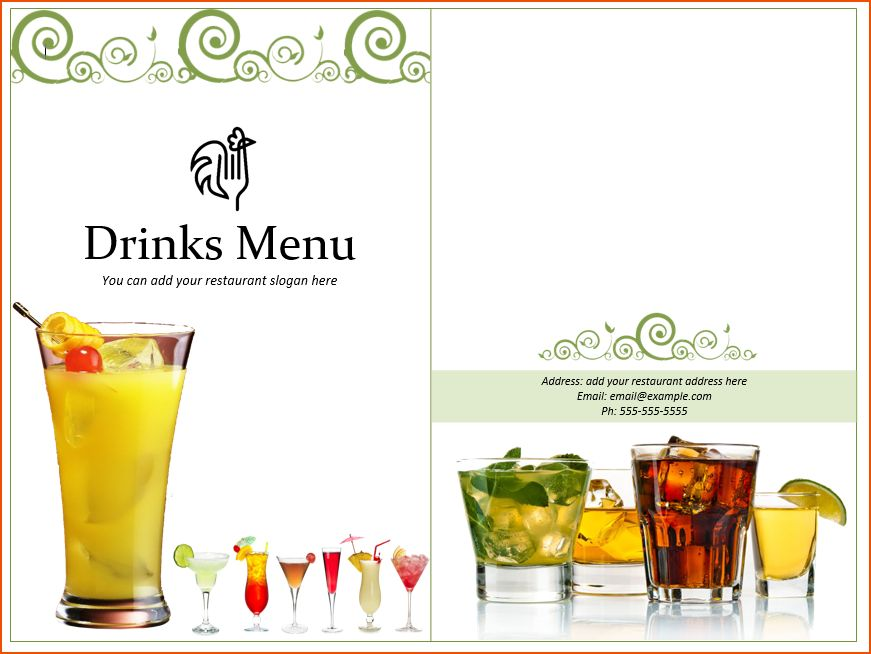 Drinks Menu Template Drink Menu Template 5 Best Drink Menu - sample drink menu template