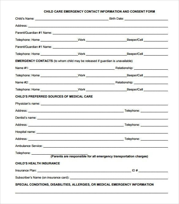 Children Emergency Contact Form  BesikEightyCo