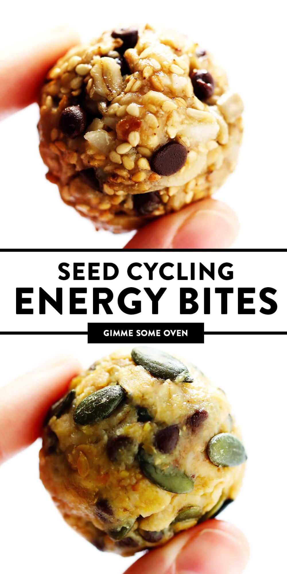 This simple Seed Cycling Energy Bites recipe is a delicious way to eat the daily serving of seeds recommended to help naturally balance women's hormones. Naturally gluten-free, easy to make, and delicious too! | gimmesomeoven.com #healthy #snack #hormones #health #glutenfree #vegan #breakfast #seedcycling