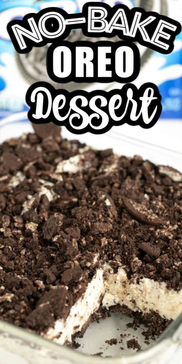 This No-Bake Oreo Dessert is the ultimate, light and frozen dessert for any Oreo fan! It's so easy to make and only calls for 7 simple ingredients. It's like the perfect mix between an Oreo pudding dessert and a delicious ice cream cake! Great summer dessert and make-ahead recipe!