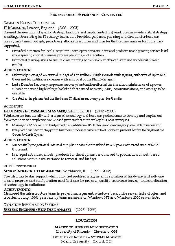 Resume Examples For Management Manager Resume Example, Business - examples of business resumes