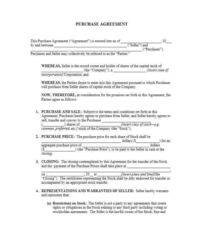 Simple Investment Agreement Template Investment Contract Template - sample stock purchase agreement example