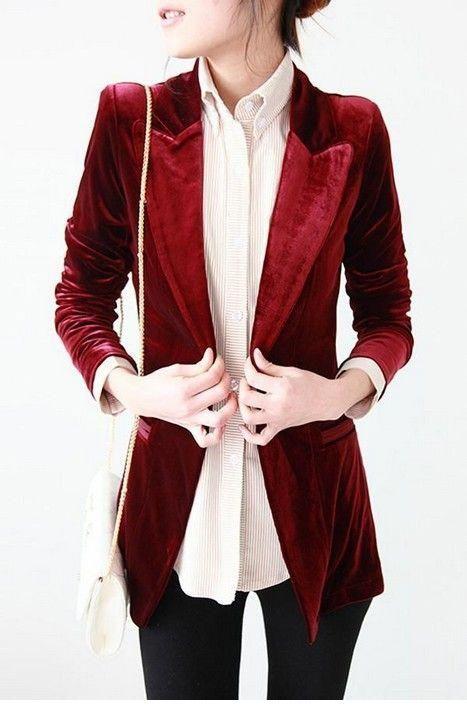 Cool burgundy velvet blazer