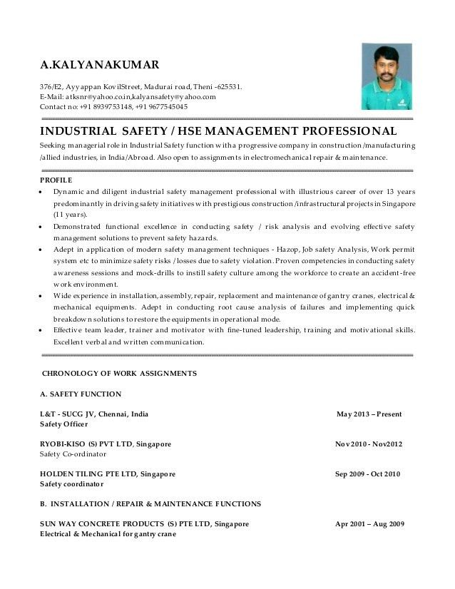 hse administrator sample resume hse officer cv sample myperfectcv