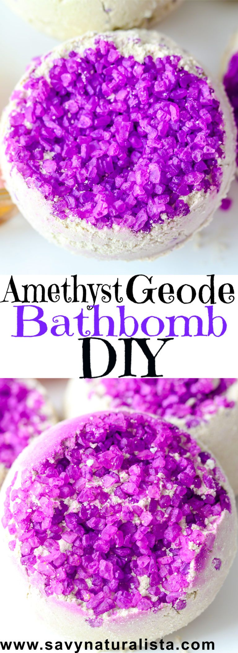 Amethyst Geode Bath Bomb is made using large crystal sea salts made with bentonite clay to detoxify and relax the body while clearing the mind. This #bathbomb is part of a birthstone collection that Shundara approved!