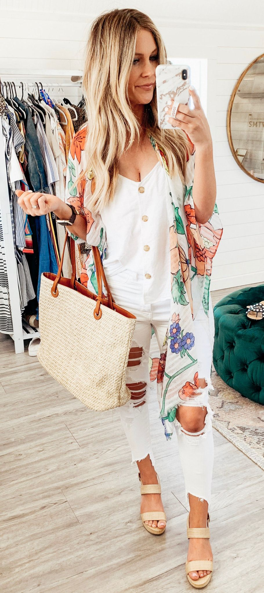 white and green floral cardigan #summer #outfits
