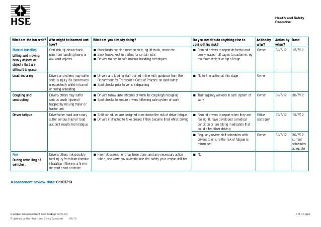 Risk Assesment Sample Sample Risk Assessment Roadhaulage, Sample - health risk assessment template