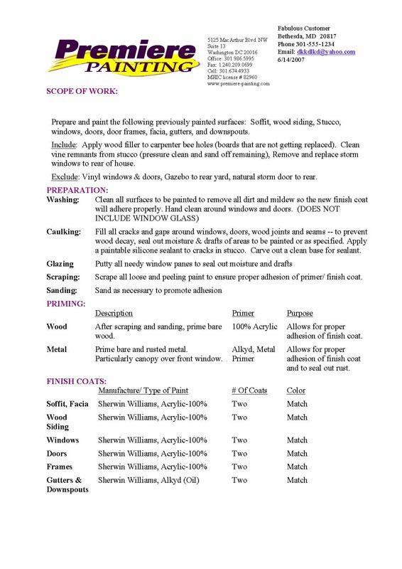 Painting Estimate Sample Painting Estimate Template 4 Free Word - estimate proposal template
