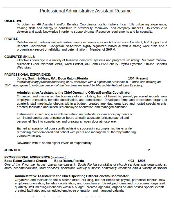 Personnel Administrative Assistant Resume Administrative - administrative coordinator resume
